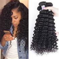12 pc brazilian saç toptan satış-Bakire Brezilyalı Saç Örgüleri Derin Dalga Kıvırcık Saç Atkı 3 Adet Başına Lot Karışık Uzunluğu 100% Virgin İnsan Saç 10