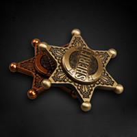 Wholesale Retro Stuff - Badge Spinner Captain Metal Retro Decompression Toys Rotation Sheriff Fidget Bronze Relax Stuff for Children Kids