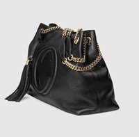 Wholesale Designer Leather Cowhide Handbags - Top quality 1:1 Quality Designer Women Genuine Leather Cowhide Handbags Fashion Tassel Soho Shoulder Bag With Chain GG 38cm or 26cm #308982