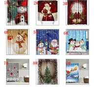 Wholesale Wholesale Showers - Snowman Shower Curtain Merry Christmas Sleepy Snowman Pattern Bathroom Shower Curtain Christmas Bath Curtain 165*180cm KKA2106