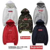 Wholesale Highest Quality Hoodie - Fashion Hot Sup Hoodies With logo Box Hip Hop Sweatershirt with Cotton High Quality Pullover Oversize For Men Women Outdoor Wear Cheap Sale