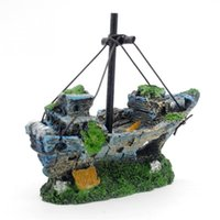 Nice Beautiful Simulation Resin Wreck Aquarium Ornament Парусная лодка Sunk Ship Destroyer Home Fish Tank Decoration