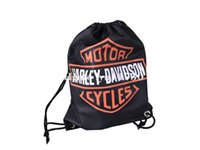 Wholesale Metal Backpacks - 35x45 knitted polyester harley logo side stripe drawstring backpack bag with metal Grommets