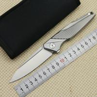 couteau griffe d'ours achat en gros de-Couteau pliant M390 lame en titane avec manche en titane pour extérieur chasse tactique camping survie poche EDC outils