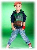 coole sportanzüge großhandel-Kinderjungen lange Ärmel mit Kapuze Kleidung Set 100% Baumwolle Patchwork-Sportanzüge für zweiteilige Strickjacke des coolen Jungenfrühlingsherbstes + Jeanseinzelhandel