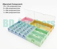 Wholesale Wholesale Wen - 20pcs set Original Component Storage Box Square IC Components Boxes SMT SMD Wen tai Containing Box Kit 40sets lot
