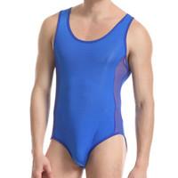 Wholesale Sexy Transparent Body Suits - Sexy Lingerie Hot Transparent Mesh Bodysuit Nylon Mens Sexy Bodysuit One Piece Wrestling Singlet Body suit Bondage Lingerie
