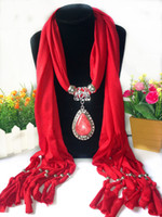 Wholesale choker scarf necklace - 2017 boho big gem Scarves Pendant Necklace Women Jewelry long Tassels multicolor collar choker Scarf Bufandas Mujer wholesale free shipping