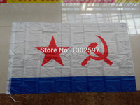Wholesale Russian Navy - Home Decor Flags, Banners Accessories USSR Soviet Navy Flag 3 x 5 Ft 90 x 150 cm 100% Polyester Russia Russian Flags
