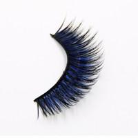 mavi uzun kirpikler toptan satış-Yeni Renk Siyah + Mavi Yanlış Eyelashes Füme Sahne Makyaj Araçları Uzun Sahte Göz Lashes Doğal Kalın Yanlış Göz Lashes 1 kutu 6 Pairs 3
