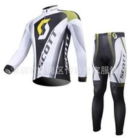 Wholesale Yellow Scott Bicycles - Cheap Scott men cycling Jersey sets in winter autumn with long sleeve bike jacket & (bib) pants in cycling clothing, bicycle wear