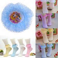 Wholesale Frilly Shorts - Wholesale- HOT SELLING Retro Lace Ruffle Frilly Ankle Short Socks Ladies Princess Girl's Stocks