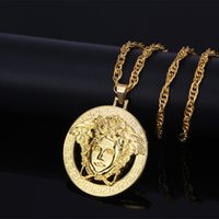 Wholesale Leather Toggle Necklace - Men's Medusa Necklace Free Chain 70cm Stainless Steel Necklaces & Pendants Men Jewelry