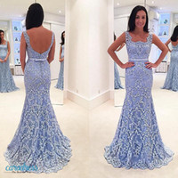 Light Sky Blue Cheap Mermaid Evening Dresses Backless Lace Applique Beads Trompete 2017 Prom Vestidos Square Neck Sexy Formal Dress