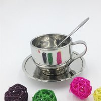 Wholesale Mug Spoon Saucer - 3pcs Set Stainless Steel Double Wall Tea Coffee Cup Mixing Spoon Plate Saucer Sets Drinking Mug Drinkware Free Shipping ZA3160