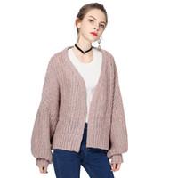 Wholesale Cardigan Sweaters Large Women - Plus Size Women Sweater 2017 Loose V-Neck Lantern Sleeve Wool Cardigan Sweater Solid Knitting Large Size Casual Sweater cardigan