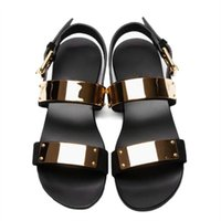 Wholesale Roman Gladiator Sandals Men - 2017 Men Sandals Genuine Leather Metal Ankle Strap Flat Thongs Roman Rivet Gladiator Summer Buckle Strap Beach Sandals
