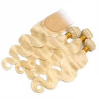 Wholesale Blonde Lace Top Closure - 613 Russian Blonde Virgin Hair With Closure 3 Bundles With 4*4 Lace Closure Top Body Wave Human Hair With Free Part Closure