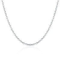 Wholesale Middle Pearls - Fashion Jewelry Silver Chain 925 Necklace Rolo Chain for Women Link Chain 1mm 16 18 20 24 inch