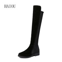 Wholesale lady thigh boot sexy - Wholesale-2016 Autumn Winter Ladies Fashion Suede Leather Over The Knee Boots Sexy Round Toe Thigh High Boot Black Shoes Thick Heel 35-40