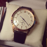 Wholesale best luxury couple watches resale online - Hot Best Gift Couple Women Men Watch Luxury watches Top Brand Round Two half dial needles Leather Strap Quartz Wristwatches for Mens lady