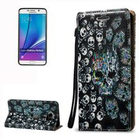 Wholesale Skull Galaxy Note Cases - For Samsung Galaxy Note 5 N920 3D Relief Skull Pattern Horizontal Flip Leather Case with Holder&Card Slots&Lanyard