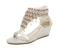 Wholesale Nude Nightclub Women - 2017 New Summer Bohemian handmade beaded female sandals nightclub wedges pearl with clip toe shoes in the shoes SIZE 35-39