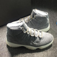 Wholesale Low Priced Furs - 2016 Drop ship top quality air retro 11 Suede men basketball shoes Gray Suede Premium sports shoes size eur 41-47 wholesale price
