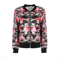 Wholesale Camouflage Womens Jackets - Womens Casual Warm Floral Long Sleeve Camouflage Casual Suit Zip-Up Jacket Coat Outwear