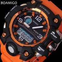 Wholesale Nurse Watch Sport - watch nurse BOAMIGO brand men sports watches dual display analog digital LED Electronic quartz watches 50M waterproof swimming watch F5100