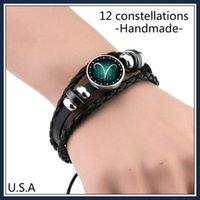 Wholesale European Bracelet Opal - Top Fashion 12 Constellation Bracelet Men and Women lover Braided Leather Charm Bracelets Bangles