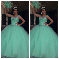 Wholesale Princess Dresses Age 12 - Sheer Shoulder Beaded Crystal Mint Green Quinceanera Dresses Ruched Long Prom Dresses Sweet 16 Ages Ball Gown Princess Pageant Gowns