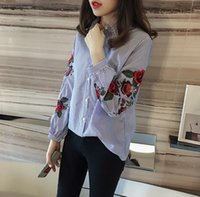 Wholesale Korean Spring Tunics - New Striped Shirt Spring Student Korean Style Fashionable 2017 Guanghua Flower Embroidered Female Lapel Tunic Tide TY2115