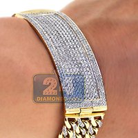Wholesale 14k Solid Yellow Gold Bracelet - Solid 14K Yellow Gold 6.35 ct Diamond ID Cuban Link Mens Bracelet 8.75 inches