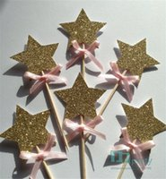 Atacado - Gold Star Cupcake Toppers com Pink Bow, Gold Star 1st Birthday Cake Toppers, Wedding Anniversary Cake Toppers