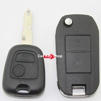 peugeot car key shell substituição venda por atacado-Modificado Folding Virar Remoto Chave Shell 2 Botões Para Peugeot 206 207 Citroen C2 caso chave do carro de Substituição
