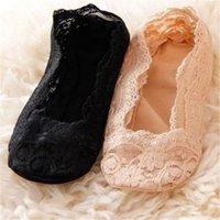 Wholesale Low Heals - Wholesale-Low Price 1pair Women Cotton Lace Ankle Heal Short Sock Low Cut Female Invisible Skidproof Socks 2 Colors Apricot Black