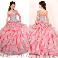 Wholesale One Sleeve Girl Pageant Dresses - 2017 New Arrival One Shoulder Ball Gown Glitz Girls Pageant Dresses Organza Colorful Pleats with Long Sleeves Flower Girls Dress Gown