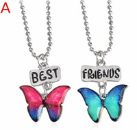 Wholesale Colored Acrylic Circles - 30pair kids girls women necklace cute lovely bohemian colored butterfly best friends pendant necklace set F415
