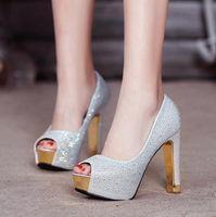 elmas gümüş balo ayakkabıları toptan satış-Glitter gümüş düğün ayakkabı altın elmas taklidi seksi yüksek topuklar prenses balo topu ayakkabı boyutu 34 ila 39 YL