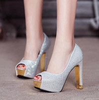 Wholesale Sexy Silver Prom Heels - Glitter silver wedding shoes gold diamond rhinestone sexy high heels princess prom ball shoes size 34 to 39 YL