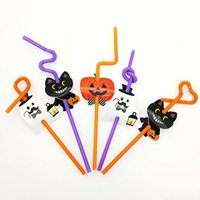 Wholesale Cute Plastic Straws - Drinking Elbow Straw with Paper made Pumpkin or Cat Pattern Juice Cocktails Drinking Straw Cute Bar Decorative Plastic Straw