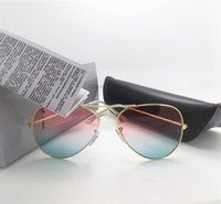 Wholesale Designing Candy Box - New Ladies Sunglasses For Women Men Elegant Fashion Band Design Candy Rainbow Adumbral High Quality Mirrors Have Leather Cases Box
