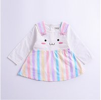 Wholesale Rainbow Long Sleeve Dresses - Baby Girls Dresses Long Sleeve Cat Pattern Cotton Lovely Striped Rainbow Princess Fall Spring Children Clothing