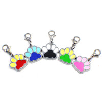 Wholesale Silver Beautiful Bags - 50pcs Beautiful Enamel Cat Dog Bear Paw Prints With Rotating Lobster Clasp dangle charms Key Chain Keyrings bag Jewelry Making HC357-1