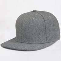 Winter Blank Wool Felt Flat Brim Snapback Hats Cheap Plain Grey Gorros de lã para homens Mulheres Black Flatbill Snapbacks Cap Wholesale
