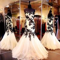 vestido de novia de baile champán al por mayor-2017 Real Image vestidos de noche Sweetheart Champagne Tul apliques de encaje negro sirena vestidos de baile Robes De Soiree Longues