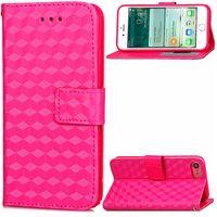 teléfono móvil al por mayor-3D Rhombus Pattern Cell Phone Colorful Wallet Case para Iphone 7 7 Plus con ranuras para tarjetas de identificación Holder Stand Skin Bag Case Skin Shell