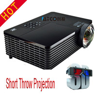Wholesale Dlp 3d Short Throw Projector - Wholesale-New Arrival 6000 ANSI Lumens 15000:1 contrast Portable HDMI Full HD 1080p Multimedia Video 3D Short Throw Holographic Projector