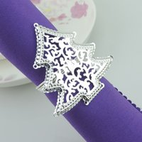 Wholesale Christmas Tree Napkin Rings - New Christmas tree Hollow silver Napkin Rings for wedding dinner,showers,holidays,Table Decoration Accessories Z533